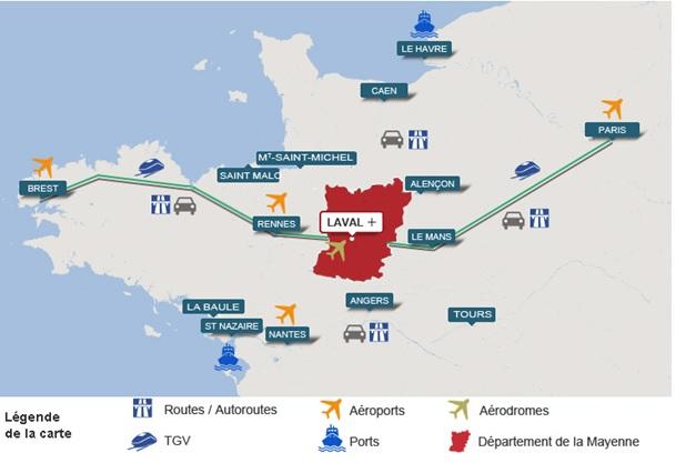 carte du grand ouest mer train et aéroport en mayenne